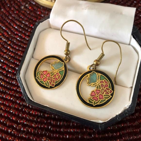 Vintage Jewelry - Vintage 70's Cloisonné Flower & Butterfly Earrings